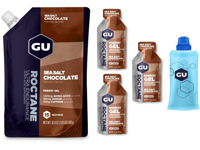 GU Energy Roctane Energy Gel Bundle Bulk Pack 480g + Gel 3x32g + Flask, Sea Salt Chocolate (2019) | Energy gels